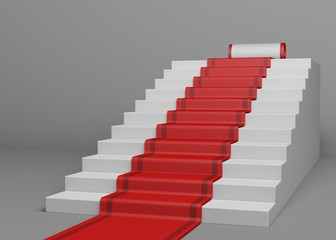Red Carpet. 3D. Red Carpet - Stairs
