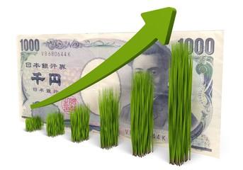 Growth. 3D. Grass Chart  - Yen Rise