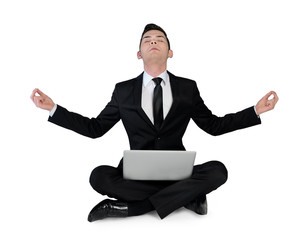 Business man pray with laptop