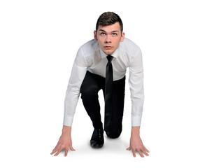 Business man start run position