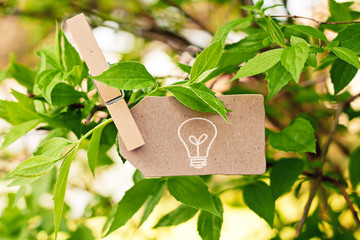 nature greeting card background - light bulb