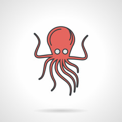 Flat vector icon for red octopus