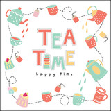 Fototapety Tea time happy time doodle illustration pastel color vector