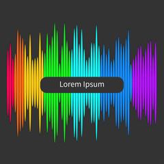 Digital equalizer. Multicolored waveform background Flat