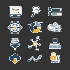 Business data analytic flat style icons set