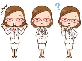 女性 医者 表情セット