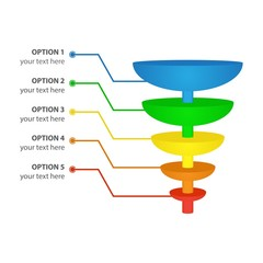Sales or Conversion Funnel, isolated on white