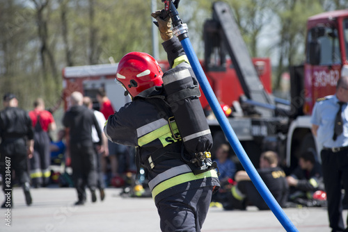 strażak z wężem