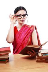 indian woman studing