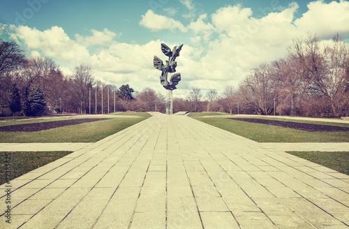 Retro filtered picture of municipal park, Szczecin. - 82385625