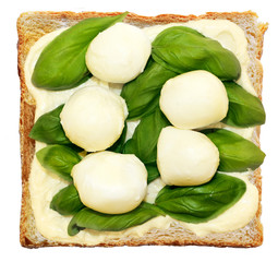 sandwich with mozzarella, spinach, butter
