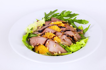 beautiful salad with duck breast pineapple pine nuts and