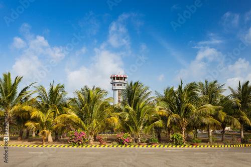 Leinwanddruck Bild Air Traffic Control Tower on Exotic Island