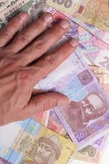 Criminal. Handcuffs and money. Corruption