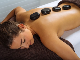 Hot stone massage in the spa