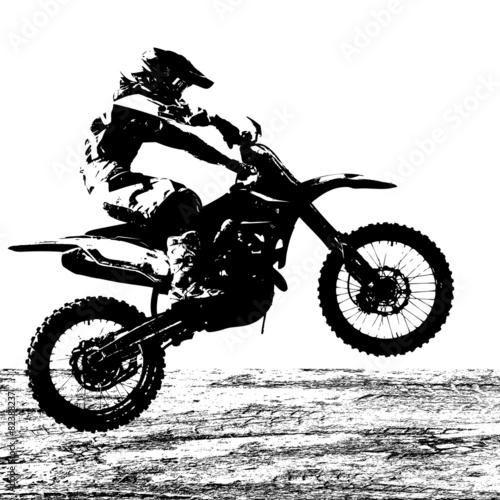 Rider participates motocross championship.  Vector illustration. - 82388237