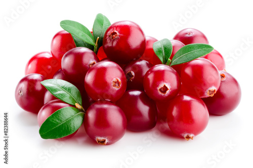 Cranberry with leaves isolated on white.