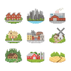 City And Town Pixel Art Icon Set