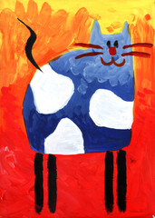 Cat fun drawing painting art handmade
