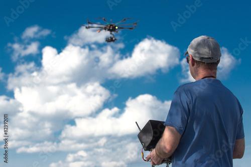 Leinwanddruck Bild drone, UAV , Multirotor Photography Helicopter