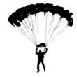 Parachutist Jumper in the helmet after the jump. Vector illustra - 82392285