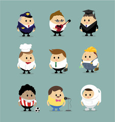 Vector set of Cartoon characters with different professions