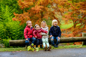 Three boys and girl sitting together in autumn park