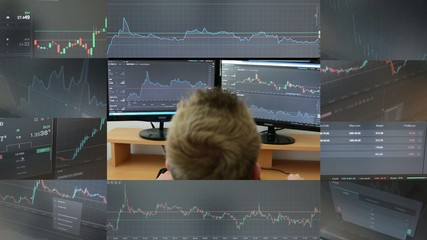 montage -Man works on the financial market(exchange)on computer
