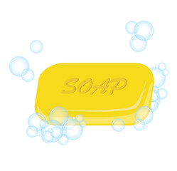 Vector of yellow soap with bubble