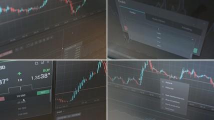 montage- financial market (exchange) - graph - pc monitor
