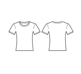 Vector of women white t-shirt template. Front and back