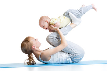 mother and baby gymnastics, yoga exercises isolated on white