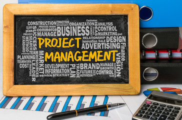project management concept with related word cloud