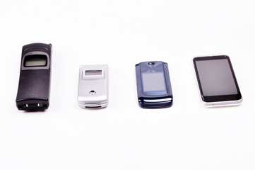 Four Kinds of Mobile Phones on White Background