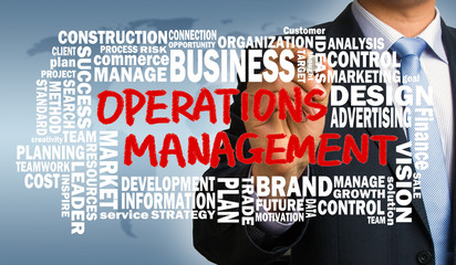 operations management concept with related word cloud