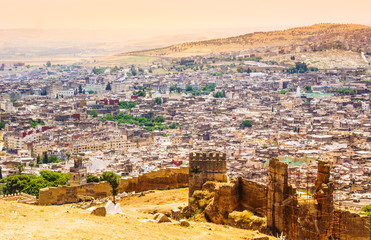 Fez, Marocco panoramic view of town.