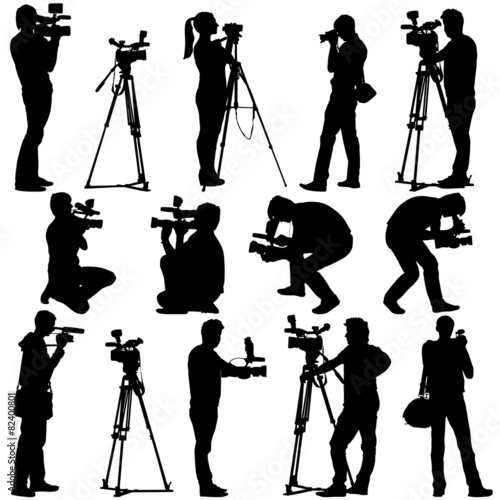 Cameraman with video camera. Silhouettes on white background. Ve - 82400801