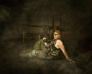 Military man soldier Holding airsoft automatic
