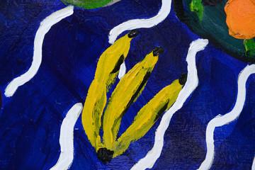 Abstract banana On Wood