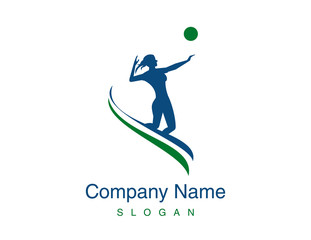 Volleyball woman player logo