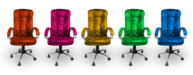 Colorful Office Leather Chairs - Red, Pink, Yellow, Green, Blue