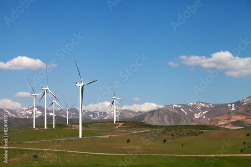 Wind farm at sun spring day - 82404851