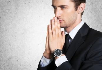 Pray. Close up of praying man