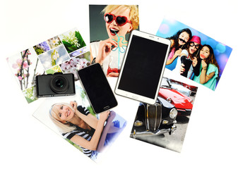gadgets with printed photos