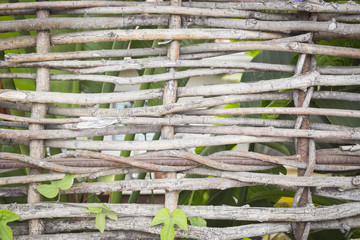 Abstract of Woven Branch Decorative Thatch Work Fence