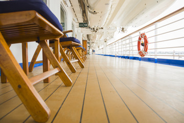 Abstract Deck View of Luxury Passenger Cruise Ship