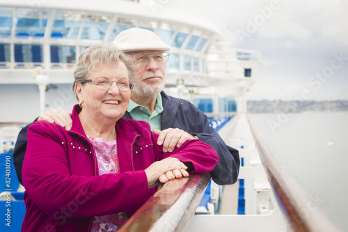 canvas print picture Senior Couple Enjoying The Deck of a Cruise Ship