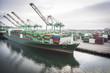 Leinwandbild Motiv Ship Harbored at Port of San Pedro, California, U.S.A.