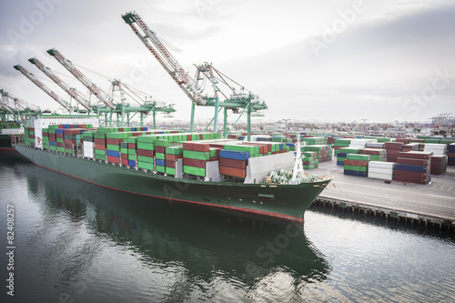 canvas print picture Ship Harbored at Port of San Pedro, California, U.S.A.