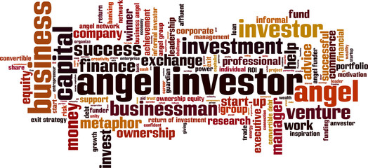Angel investor word cloud concept. Vector illustration